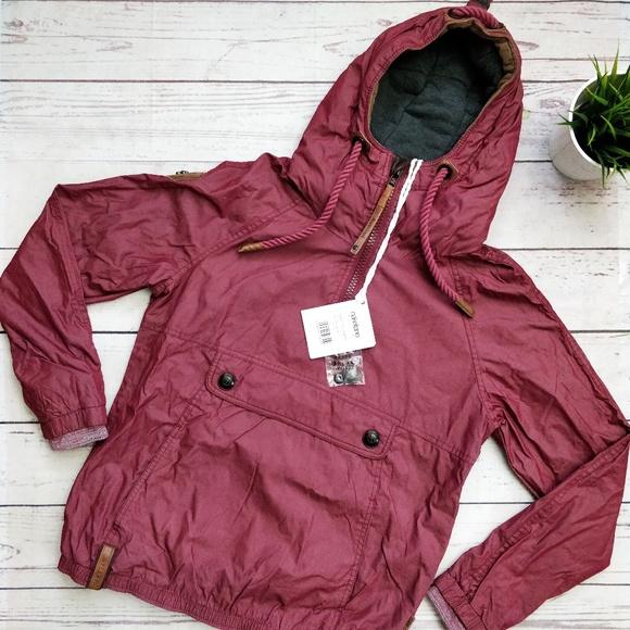 NWT NAKETANO Half Zip Hooded Jacket Bordo S L NWT